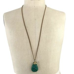 Vintage Green Glass Flower Necklace